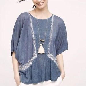 Anthro Akemi & Kin Blue Linen White Lace Blouse 37